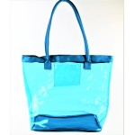 9173- AQUA TRANSPARENT SHOPPING OR BEACH BAG