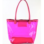 9173- HOT PINK TRANSPARENT SHOPPING OR BEACH BAG