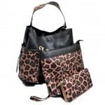 LF5073B-BLACK LEOPARD VEGAN LEATHER PURSE- 3 PIECE SET