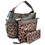 LF5073B-PEWTER LEOPARD VEGAN LEATHER PURSE- 3 PIECE SET
