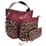 LF5073B-WINE LEOPARD VEGAN LEATHER PURSE- 3 PIECE SET