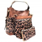 LF5073B-BROWN LEOPARD VEGAN LEATHER PURSE- 3 PIECE SET