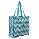 180855-AQUA/WHITE CHEVRON DESIGN SHOPPING TOTE OR BEACH BAG W/POCKETS