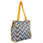 180857 - GRAY/WHITE  CHEVRON DESIGN WITH YELLOW LINING TOTE BAG