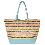 32653-AQUA COLOR STRIPES DESIGN SHOPPING OR BEACH BAG
