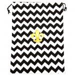 SW181247-2 BLACK&WHITE LAUNDRY BAG W/GOLD FDL