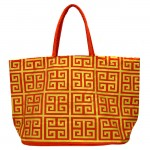 181268 - RED/GOLD SQUARE DESIGN SHOPPING OR BEACH BAG