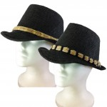 1801 - 12 PIECES BLACK STRAW BLOCKED HAT ROPE BAND (2 COLORS)