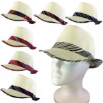 1802 - 12 PIECES CREAM PLAID BLOCKED STRAW HAT (7 COLORS)