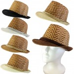 1804 - 12 PIECES CHEVRON DESIGN STRAW HAT (6 COLORS)