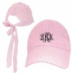 32636 - PINK  COTTON SEER SUCKER CAP W/ BOW ON BACK (MINIMUM 2)