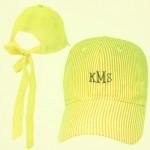 32640 - YELLOW  COTTON SEER SUCKER CAP W/ BOW ON BACK (MINIMUM 2)