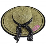 180723 - BLACK & TAN FLOPPY  HAT W/ BOW ( MONOGRAM NOT AVAILABLE )