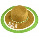 180892 - BROWN FLOPPY HAT W/ GREEN & WHITE ( MONOGRAM NOT AVAILABLE )