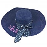 180896 - NAVY BLUE FLOPPY HAT W/ BOW ( MONOGRAM NOT AVAILABLE )
