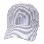 32521 - BLUE COTTON SEER SUCKER CAP  (MINIMUM 2)