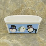 34380 - CERAMIC RECTANGULAR CHRISTMAS BOWL - BLUE SNOWMAN FACES