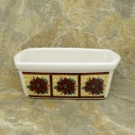 34380 - CERAMIC RECTANGULAR CHRISTMAS BOWL - FLOWERS