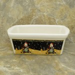 34380 - CERAMIC RECTANGULAR CHRISTMAS BOWL - NIGHT SANTAS