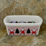 34380 - CERAMIC RECTANGULAR CHRISTMAS BOWL - PINK SANTA