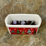 34380 - CERAMIC RECTANGULAR CHRISTMAS BOWL - RED XMAS