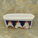 34380 - CERAMIC RECTANGULAR CHRISTMAS BOWL - 3 SANTAS