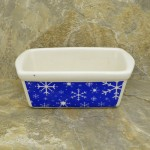 34380 - CERAMIC RECTANGULAR CHRISTMAS BOWL - SNOWFLAKES BLUE