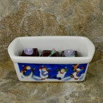 34380 - CERAMIC RECTANGULAR CHRISTMAS BOWL - BLUE SNOWMAN