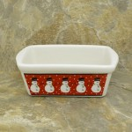 34380 - CERAMIC RECTANGULAR CHRISTMAS BOWL - SNOWMAN RED